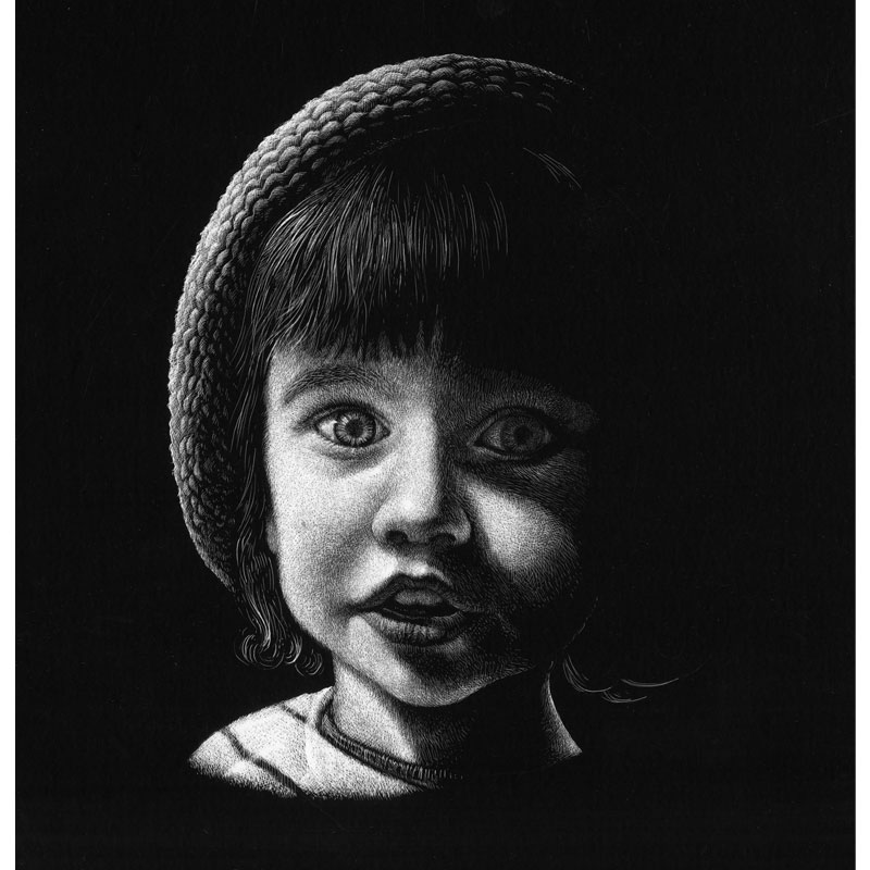 fred-van-deelen-illustrator-Black-and-white-illustration-portrait-child-03-scraperboard-engraving