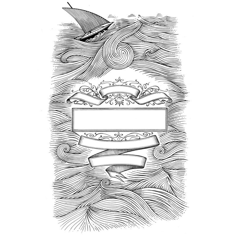 fred-van-deelen-illustrator-Black-and-white-illustration-scraperboard-boat-heraldry