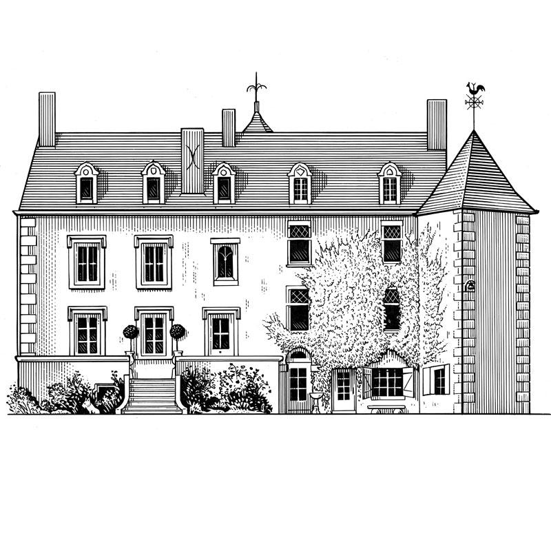 fred-van-deelen-illustrator-Black-and-white-illustration-scraperboard-engraving-chateau