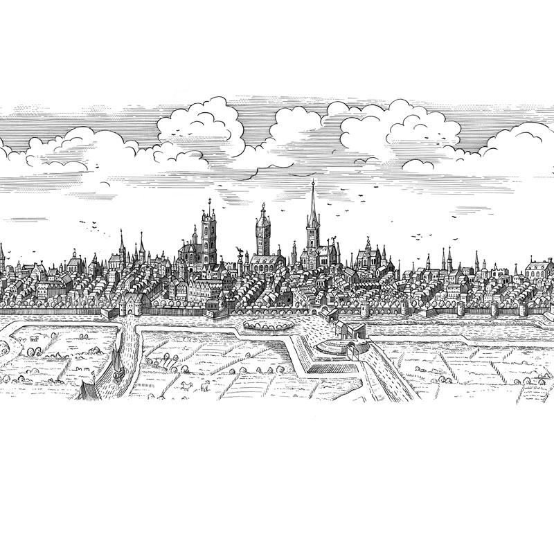 fred-van-deelen-illustrator-Black-and-white-illustration-scraperboard-engraving-cityscape-Ghent