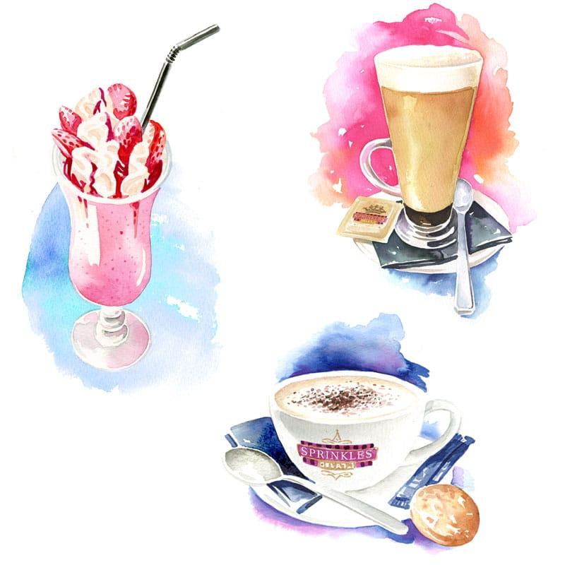 fred-van-deelen-illustrator-beverages-coffee-icecream-watercolour-illustration