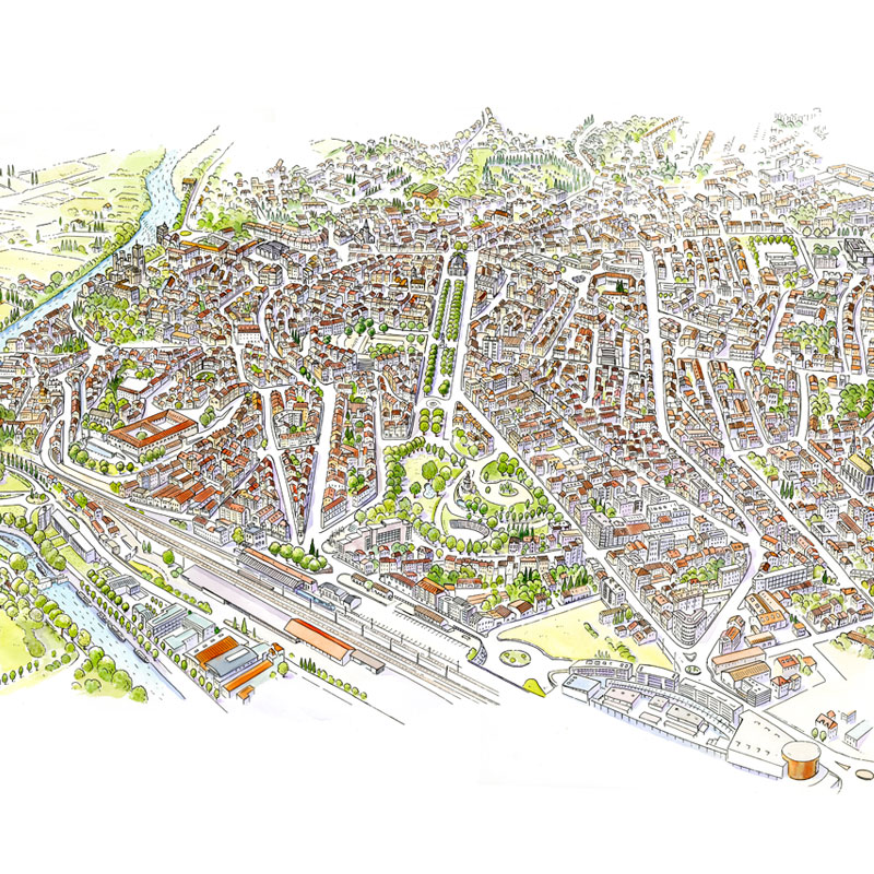 fred-van-deelen-illustrator-maps-béziers-tourist-map-illustration