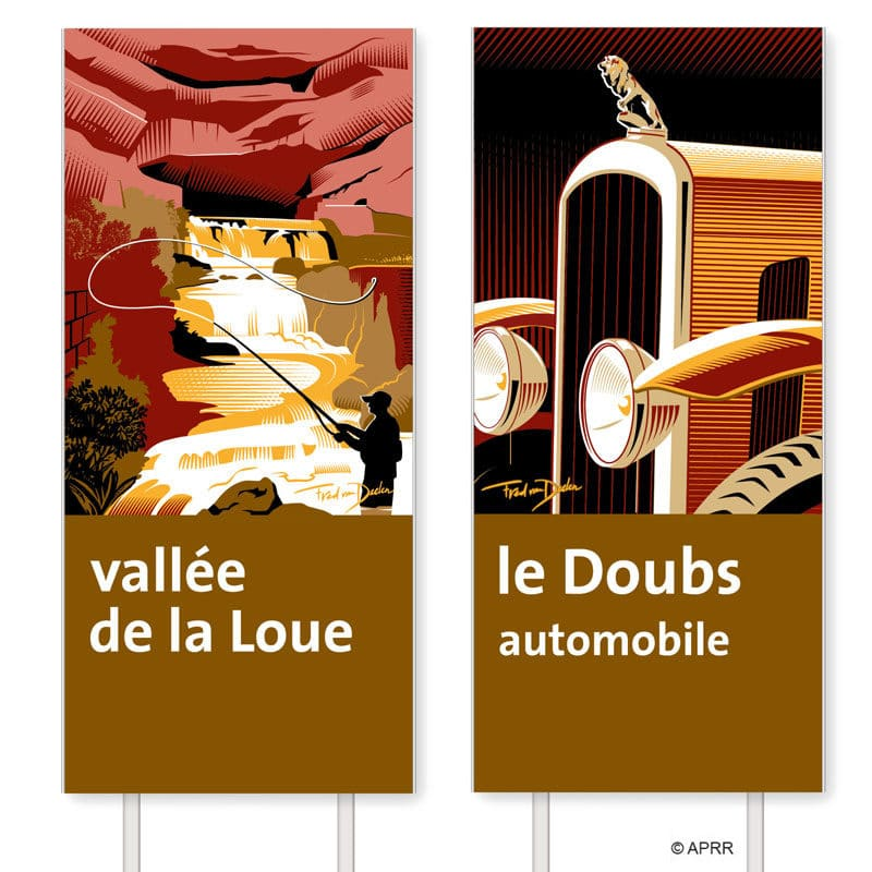 Fred van Deelen illustrator French motorway sign illustration 04