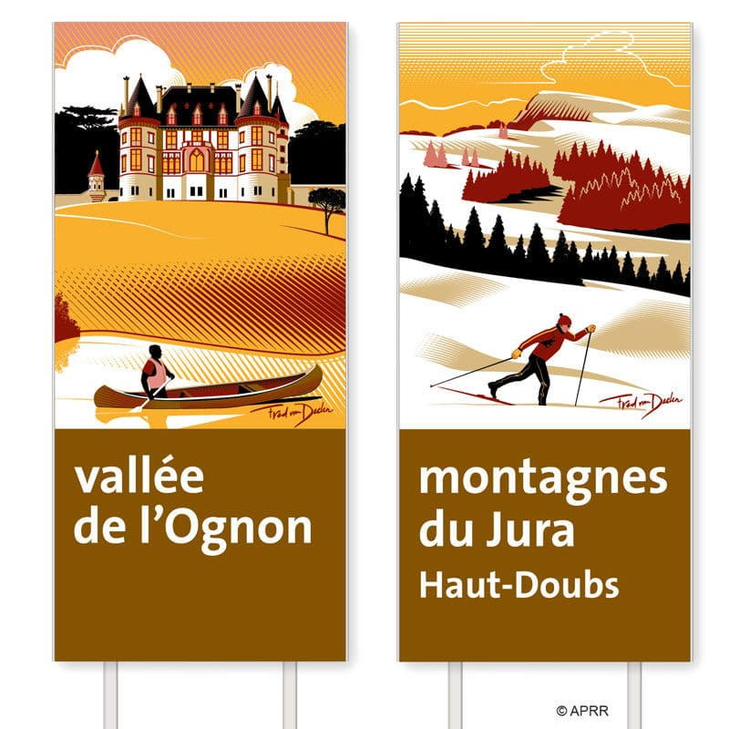 Fred van Deelen illustrator French motorway sign illustration 06